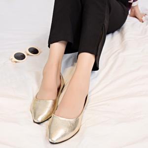 Pointed Toe PU Leather Slip On Flats -