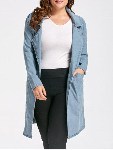 Best Lapel Plus Size Long Denim Trench  Coat - 4XL LIGHT BLUE Mobile