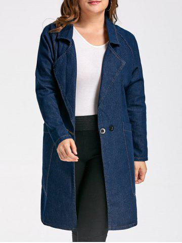 Cheap Lapel Plus Size Long Denim Trench  Coat - 3XL DENIM BLUE Mobile