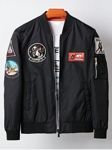 Discount Cartoon Embroidered Appliques Bomber Jacket - M BLACK Mobile