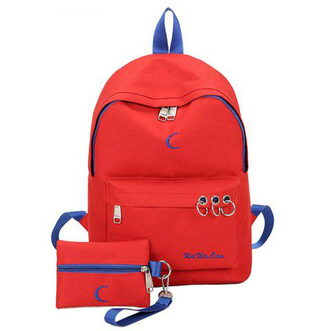 Trendy Embroidery 2 Pieces Color Block Backpack Set RED