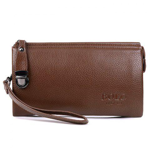 Latest Zipper Metal Embellished Wristlet Clutch Bag - LIGHT BROWN  Mobile