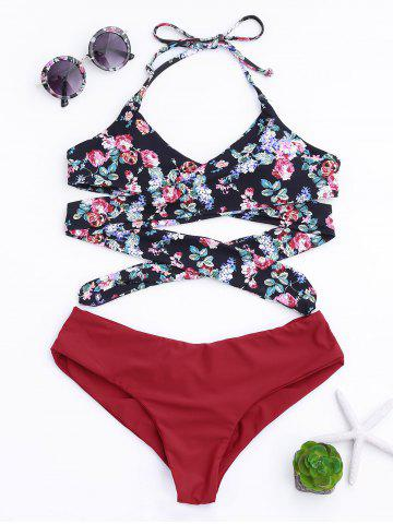 Best Halter Wrap Floral Print Bikini Set - M COLORMIX Mobile