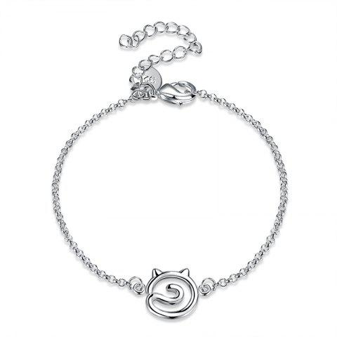 Trendy Hollow Out Simple Cat Alloy Bracelet - SILVER  Mobile