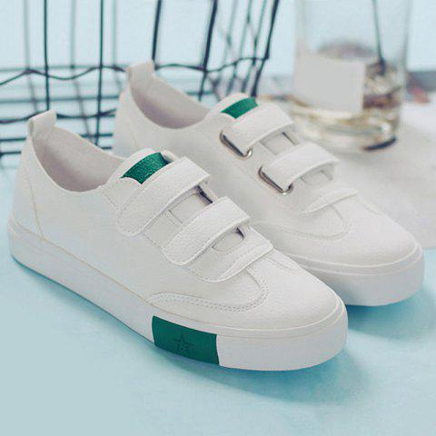Unique Hook and Loop Faux Leather Sneakers - 37 GREEN Mobile