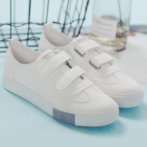 Hot Hook and Loop Faux Leather Sneakers - 39 SILVER Mobile