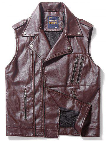 New Asymmetrical Zip Epaulet Design Faux Leather Vest - 3XL DARK AUBURN Mobile