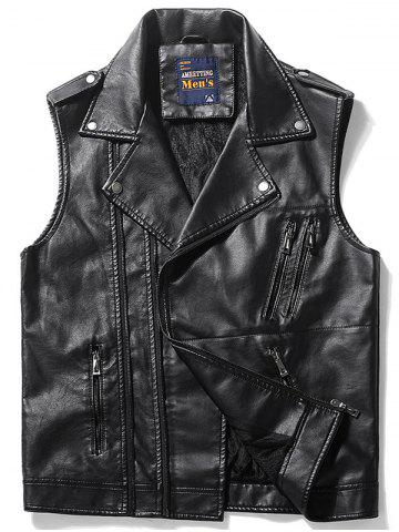 Gilet Asymétrique Zip Epaulet Design Faux Leather Noir 3XL
