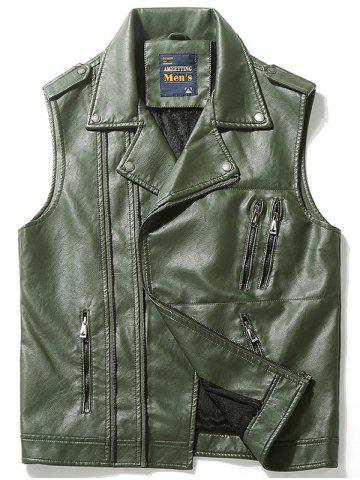 Gilet Asymétrique Zip Epaulet Design Faux Leather Vert L