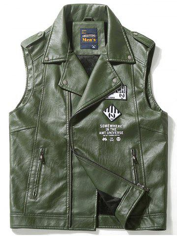 Fancy Zip Up Patched Lapel Faux Leather Vest - 3XL GREEN Mobile