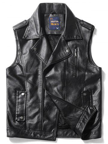 Epaulet Design Zip Up Faux Leather Vest Noir XL