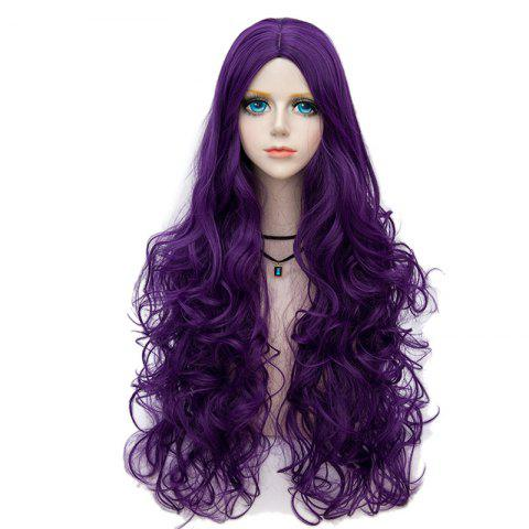 Shop Long Center Parting Fluffy Wavy Halloween Party Synthetic Wig - PURPLE  Mobile