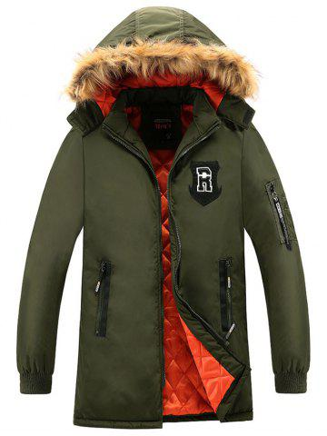 Patch Design Détachable Hood Zip Up Coat Vert Armée 3XL