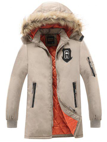Patch Design Détachable Hood Zip Up Coat Kaki 3XL
