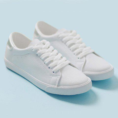 Outfits Round Toe Color Block Sneakers - 37 SILVER Mobile