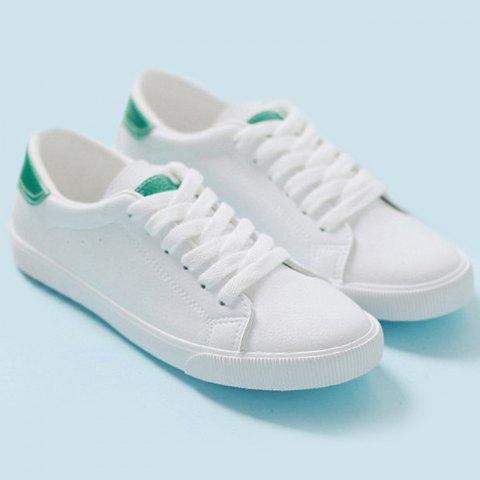 Sale Round Toe Color Block Sneakers - 39 GREEN Mobile