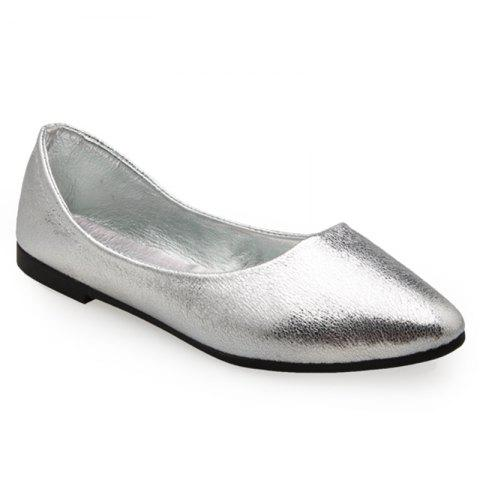 Pointed Toe PU Leather Slip On Flats Argent 37