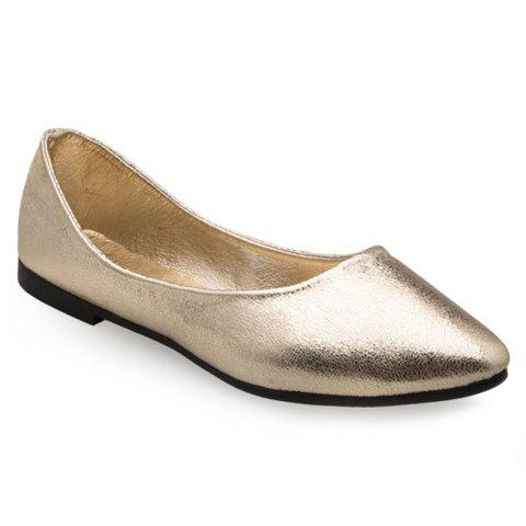 Outfits Pointed Toe PU Leather Slip On Flats - 39 GOLDEN Mobile
