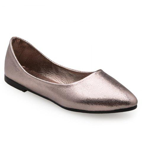 Buy Pointed Toe PU Leather Slip On Flats - 39 GUN METAL Mobile