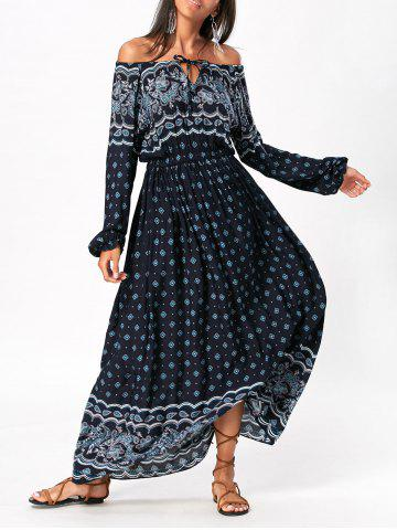 Chic Bohemia Print Off Shoulder Maxi Dress COLORMIX S