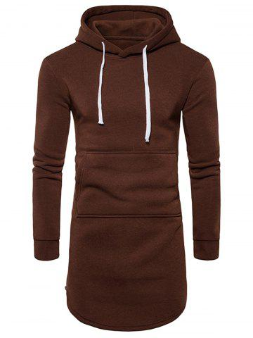 Curve Bottom Side Zip Fleece Longline Hoodie