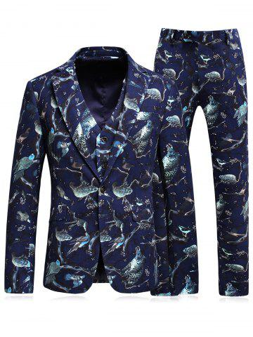 Fashion 3D Animal Florals Print Blazer Three Piece Suit CADETBLUE L