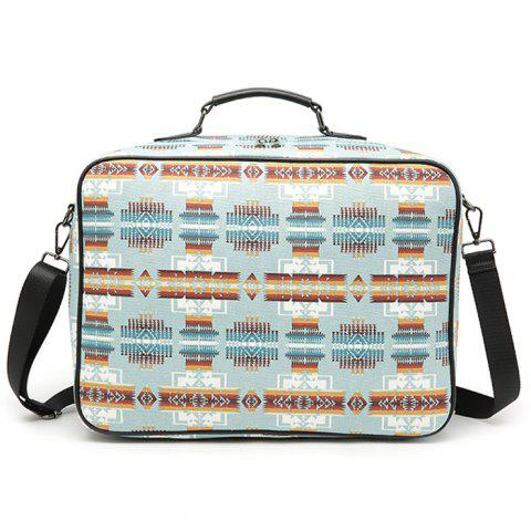 Online Canvas Zipper Geometric Pattern Tote Bag LIGHT BLUE