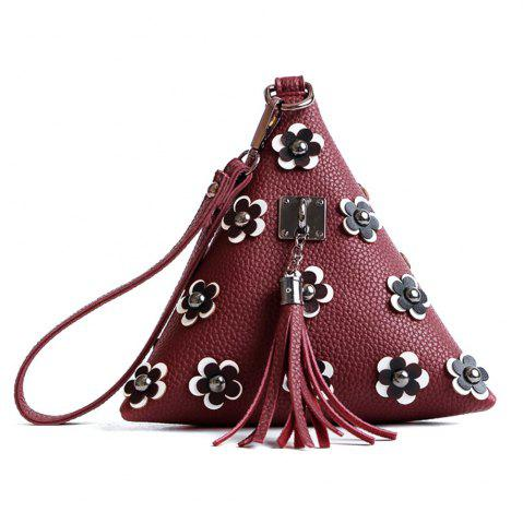 Outfit Tassels Triangle Shape Flowers Clutch Bag