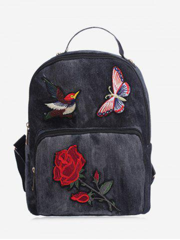 Trendy Zipper Denim Embroidery Backpack BLACK