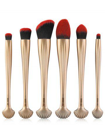 Buy 6Pcs Shell Design Plated Facial Makeup Brushes Set GOLD AND RED