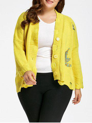 Yellow One Size Ripped V Neck Plus Size Bird Embroidered Cardigan ...