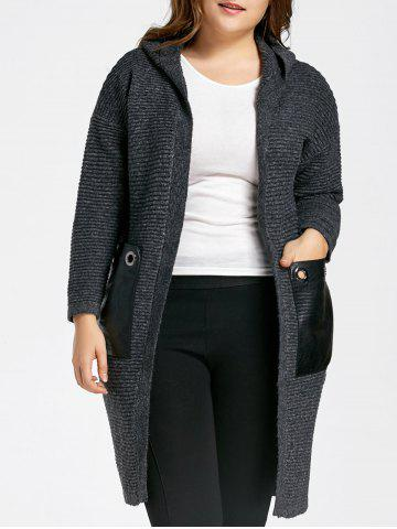 Cheap Plus Size Pockets Long Chunky Hooded Sweater Coat