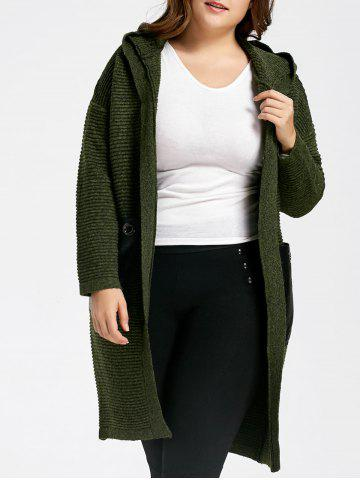 Green One Size Plus Size Pockets Long Chunky Hooded Sweater Coat ...