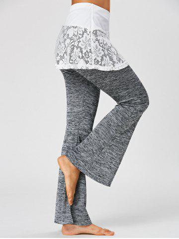 Shop Heather Lace Trim Flare Skirted Pants - M DARK HEATHER GRAY Mobile