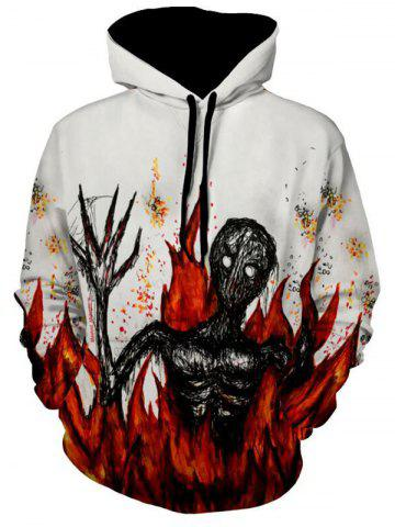Cheap Flame Devil Printed Pullover Halloween Hoodie - 3XL WHITE Mobile