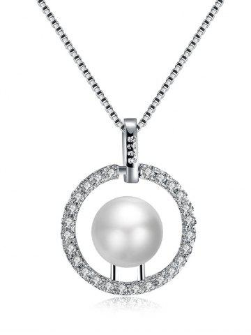 Discount Rhinestone Faux Pearl Charm Circle Necklace