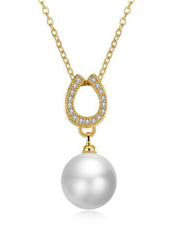 Fashion Faux Pearl Rhinestone Horseshoe Pendant Necklace - GOLDEN  Mobile