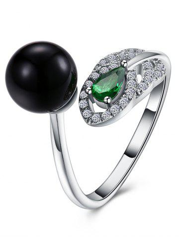 Faux Emerald Rhinestoned Ball Manch Ring
