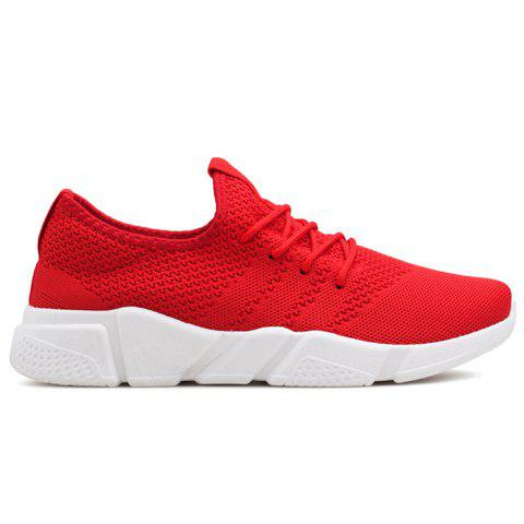 Low Top Tie Up Mesh Sneakers Rouge 43