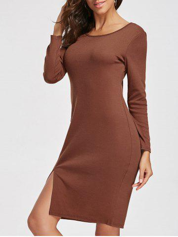 Trendy Long Sleeve Knee Length Slit Dress CAMEL S