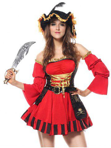 Unique Flounced Pirate Cosplay Costume RED 2XL