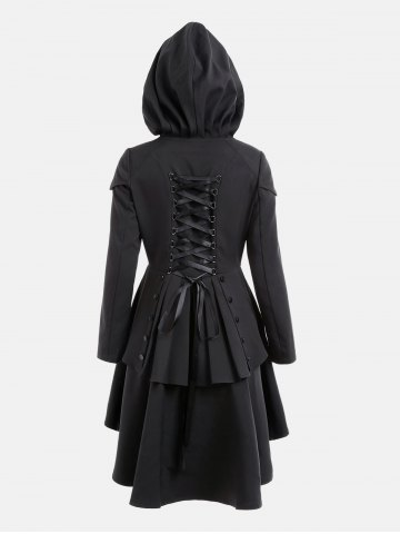 Trendy Lace Up Layered High Low Hooded Coat