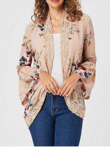 Cheap Flare Sleeve Lace Trimmed Floral Print Cardigan - L APRICOT Mobile