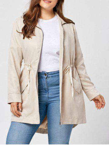 Chic Plus Size High Low Zip Up Coat APRICOT 2XL