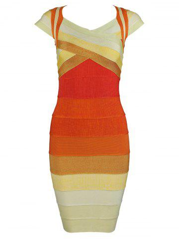 Hot Cap Sleeve Color Block Bandage Dress
