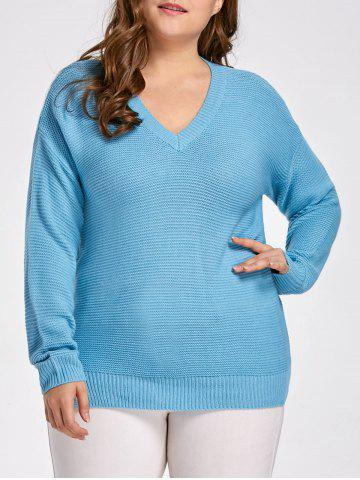 Lake Blue 4xl Plus Size Side Split Boyfriend Sweater | RoseGal.com