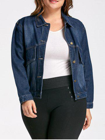 Button Plus Size Poches Denim Jacket