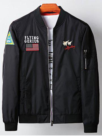 Applique Aircraft Graphic Embroidered Bomber Jacket