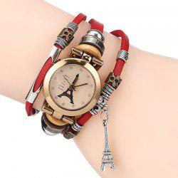 Rhinestone Effiel Tower Layered Charm Bracelet Watch -