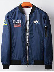 Applique Aircraft Graphic Embroidered Bomber Jacket -
